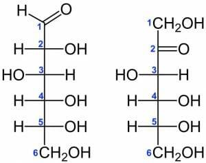 D-Glucose vs. D-Fructose Structural Formulae