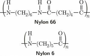polyamide PA66 and PA6 structure, nylon