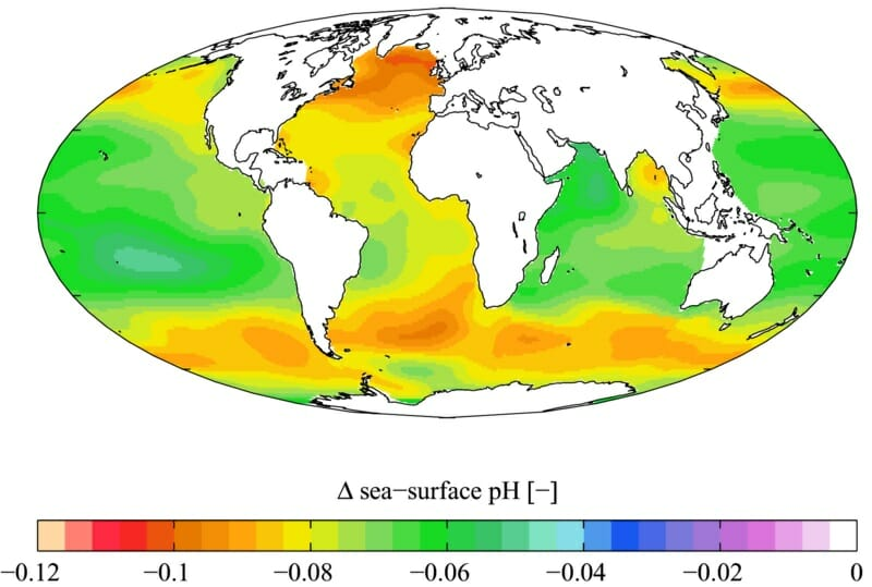 Estimated change in annual mean sea surface pH