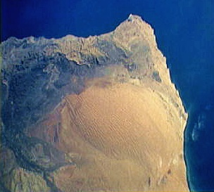 Satellite image of a desert in Oman