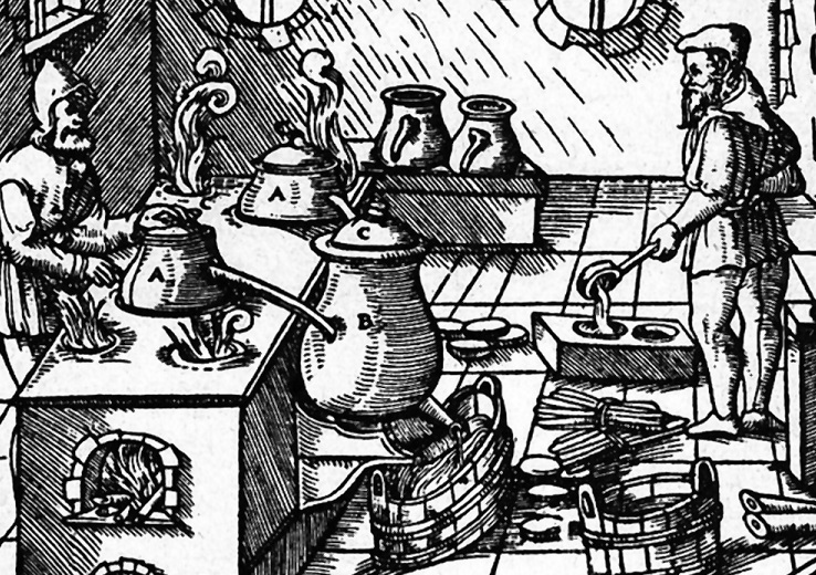 Medieval sulfuric acid extraction