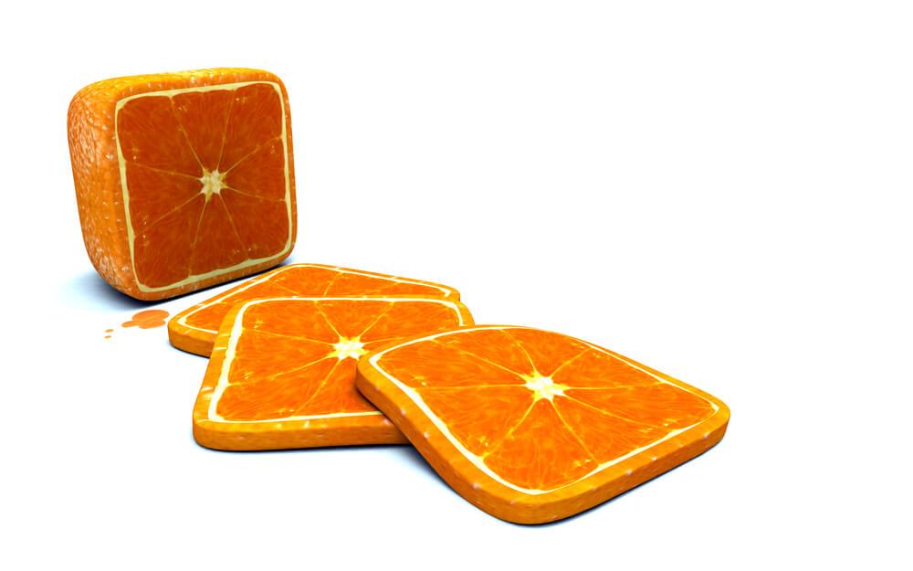 GM genetically modified orange fruit square