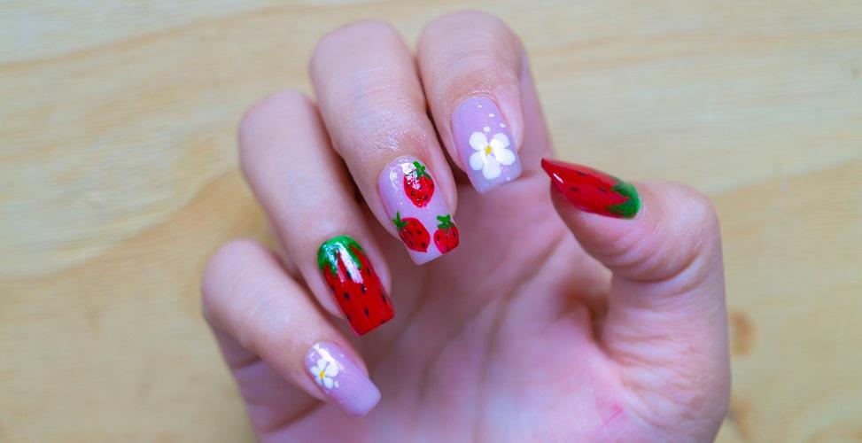 fingernails keratin painted varnish decorated