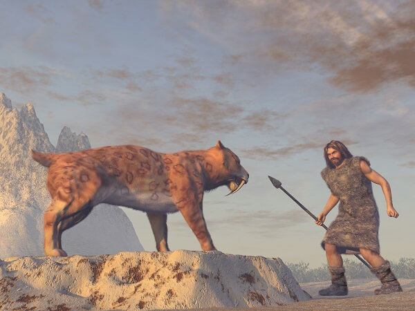 Image of a man with a spear opposite a sabre tooth tiger