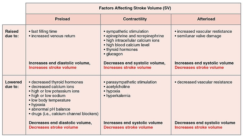 stroke volume frank starling vasoconstriction