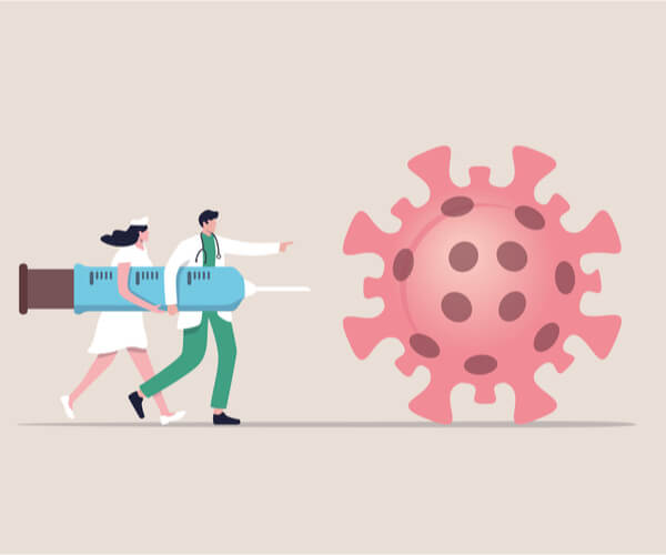 doctor and nurse holding giant vaccination needle and chasing a giant round virus