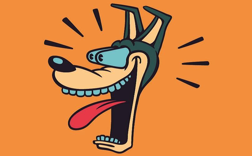 cartoon dog surprise jaw dropping