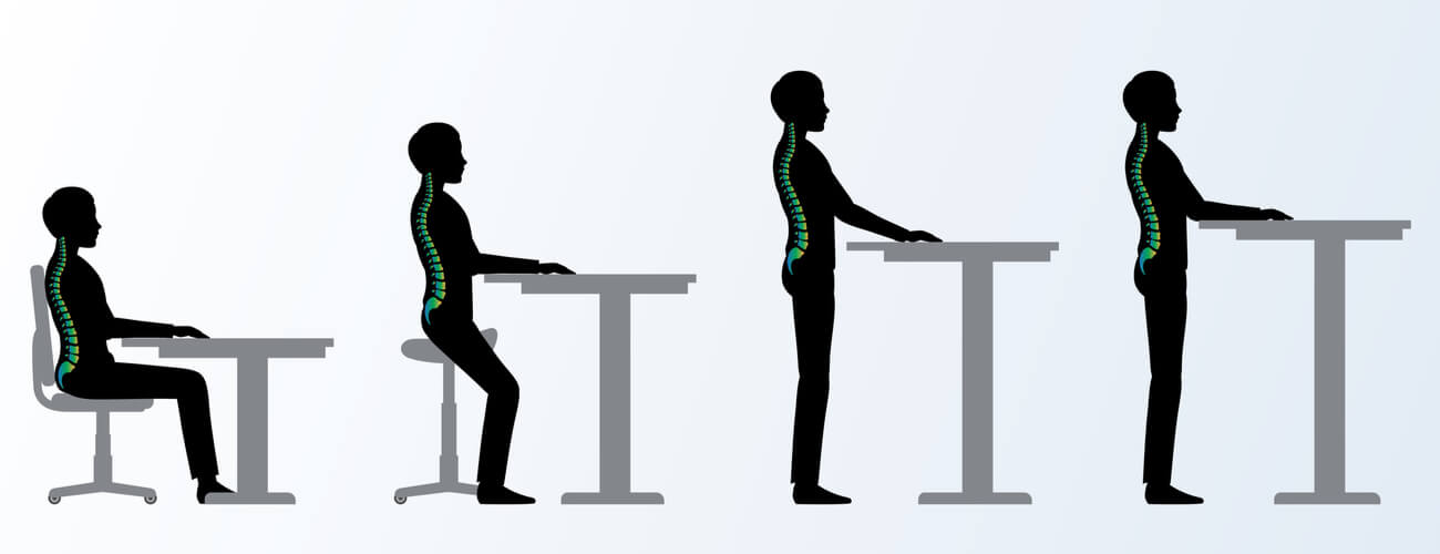 Image of four human figures showing the proper sitting and standing positions with the spine highlighted