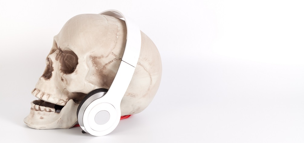 lateral view side skull human earphones