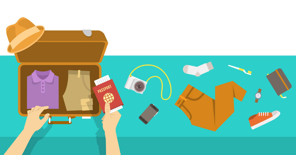 Cartoon of person packing various items into a suitcase, using episodic memory to determine items needed