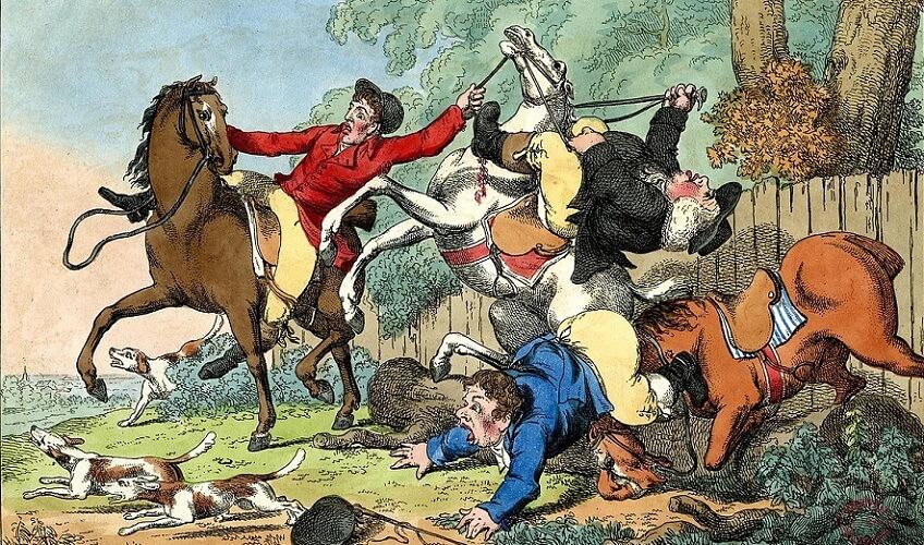 fall horse comic 18th century print etching