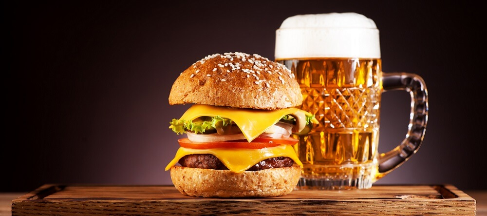 alcohol saturated fat beer burger liver