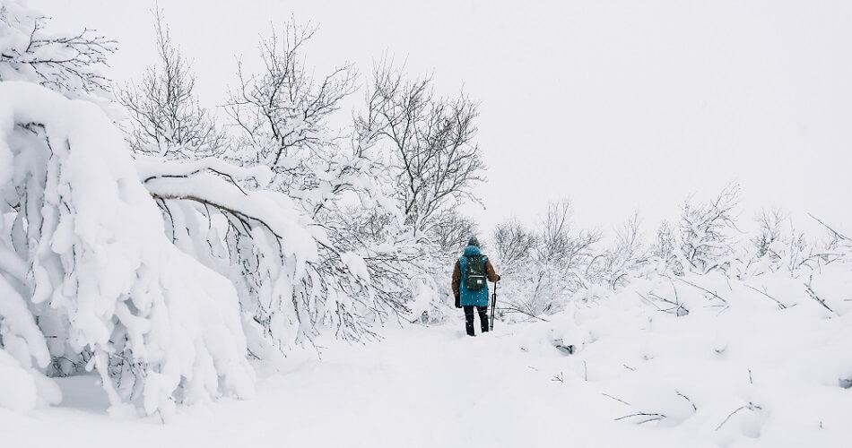 hypothermia snow cold person walking