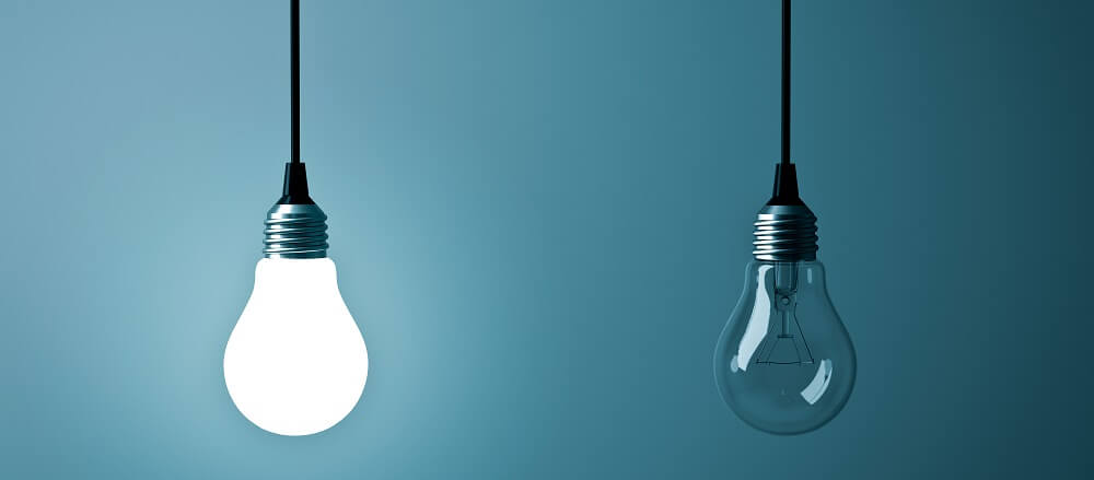 lightbulb dim bright light