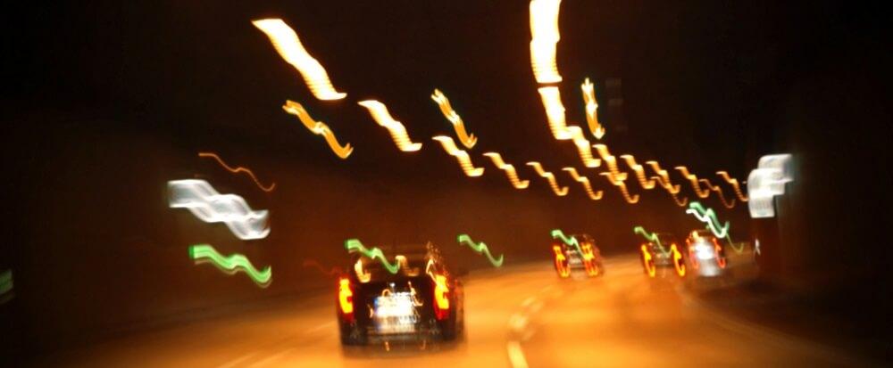 drunk driving nighttime car tunnel dark automobile
