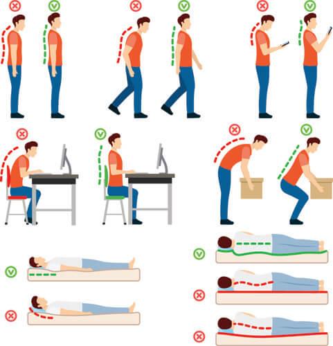 correct bad posture sitting working lifting sleeping