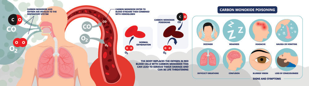 carbon monoxide poisoning co symptoms red blood cells erythrocytes